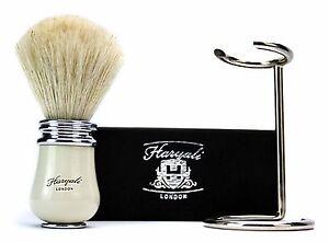 Pure White Hair Shaving Brush 100% Badger + Stainless Steel Stand / Holder