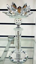 Silver Crushed Diamond Crystal Filled Tea Light Candle Holder
