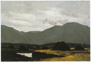 Grey Day on the Bog Paul Henry print in 10 x 12 inch mount ready to frame SUPERB