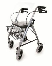 Lightweight Steel Silver 4 Wheels Walker Rollator Walking Frame Aid Seat Basket
