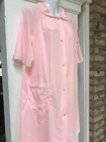 Vtg Lorraine Size Medium 2-piece Set Nightie & Robe Pink w Lace, Nylon