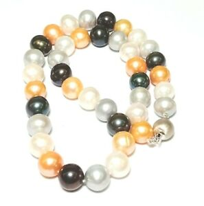 """Genuine Multi Color 10.5 - 11.5mm Cultured Round Pearl Hand Knotted 18"""" Necklace"""