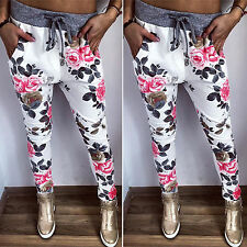 Women's Floral High Waist Fitness Sports Gym Pants Drawstring Trousers Joggings