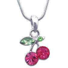 Small Pink Cherry Fruit Pendant Necklace Girl Teen Women Fashion Jewelry n7hp