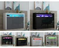 Modern 3 Doors Cabinet Sideboard Cupboard Matt Body & High Gloss Doors+LED Light
