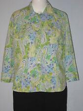 VAN HEUSEN Size L Green Paisley Print Roll Up Long Sleeve Button-Down Blouse