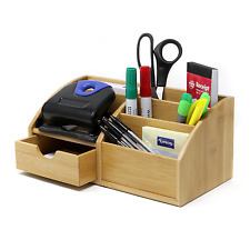 Bamboo Desk Organiser 7 Part Stationery Storage Organiser Office Tidy M&W