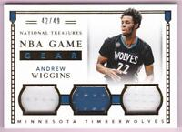 ANDREW WIGGINS 2015-16 NATIONAL TREASURES GAME GEAR TRIPLE JERSEY #42/49