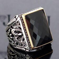 Mens Ring 925 Sterling Silver Black Onyx Unique Elegant artisan jewelry