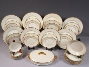 LIMOGES France Old Abbey Dinner Set Plates Cups Bowls Tureen GOLD GILD