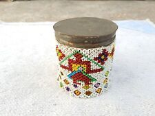 1940's VINTAGE HAND WOVEN BEADS MULTI-FIGURES TIN ROUND CIGARETTE KEEPING CASE