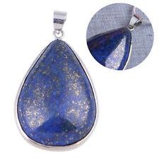 "Women Lady Girl Gemstone Lapis Lazuli Gem Necklace Pendant 1.42x1.02"" Chain"