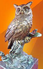 More details for bronze owl sitting on  branch statue figurine figure bird hot cast sculpture