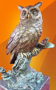 BRONZE OWL SITTING ON  BRANCH STATUE FIGURINE FIGURE BIRD HOT CAST SCULPTURE