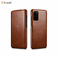 ICARER Luxury Genuine Leather Flip Case Cover For Samsung Galaxy S10 S20 + Ultra