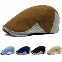 Men Classic Cotton Stripe Peaked Cap Checks Golf Driving Flat Cabbie Beret Hat