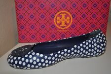 8562dab07a8 NEW TORY BURCH MINNIE TRAVEL NAVY SEA LEATHER POLKA DOTS BALLET FLATS 9.5 M
