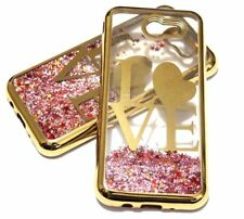 For Samsung Galaxy J3 EMERGE - Gold Love Pink Glitter Hearts Liquid Case Cover