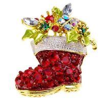 *UK Shop* CHRISTMAS RED CRYSTAL RHINESTONE STOCKING BOOT SANTA BROOCH PIN SECRET