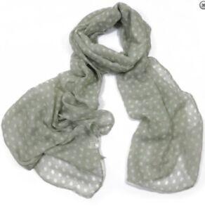 BNWT Grey Delicate Polka Dot Spotty Print Cute Polycotton Scarf Hijab Sarong
