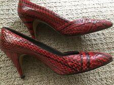 "VINTAGE J Renee Red Leather Snakeskin 3"" Heels Size 8M"