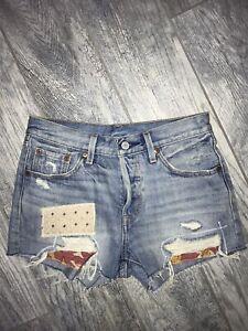 NEW Levi's Patchwork Cut Off Denim Shorts Size 25