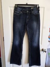 Silver Jeans~Suki Surplus Bootcut~Flap Pockets~Dark~Distressed~27/30 (28/29 1/2)