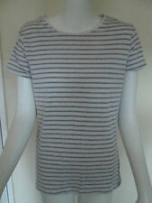 ATMOSPHERE - WHITE/GREY, STRIPED C-NECK STRECH  BASIC T-SHIRT, TOP SIZE 16