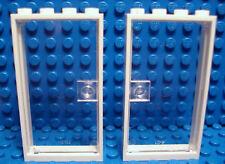 LEGO  LEGOS  -  Set of 2 NEW Door & Frame 1 x 4 x 6 WHITE / CLEAR