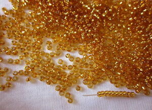 25g Silver Lined Transparent Gold 1.7mm Czech Glass Seed Beads 13/0 #1151 s2-33