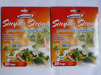 2 Packs  30X Microwave cook simply steam bags vegetables, meat, fish, poultry