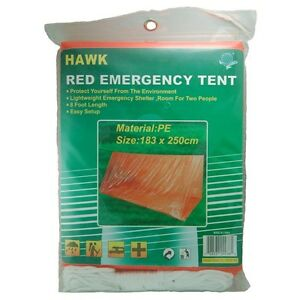 HAWK TC-TENT-PE - Red / Orange Emergency Tube Tent Camping, Back Packing, Car