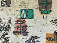 Vintage barkcloth abstract mid century modern cotton fabric remnant panel!
