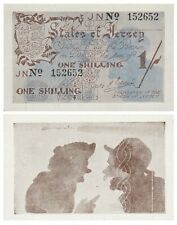Jersey 1 Shilling German Occupation Wwii 1941-1942 P2a aUnc Two gossiping men
