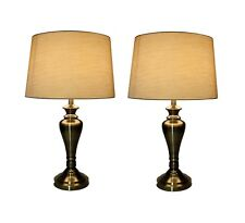 A Pair of 48 cm Antique Brass Table Touch Lamp Table Lamp Two in a Set