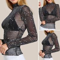 Women See-through Top Sheer Mesh Stars Blouse Long Sleeve Black T-Shirt Clothes