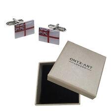 Mens Rectangular Royal Navy Flag Cufflinks & Gift Box - By Onyx Art