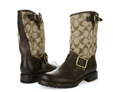 -Womens FRYE COACH Brown Signature Leather Short Pull-on Boots Sz. 5.5 B NEW!