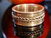 Schöner 925 Silber Ring Glänzend Verziert Querrillen Häkelschnur Optik Unisex