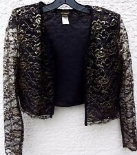 Le Monti Ladies Black & Gold Shinny Semi Sheer Long Sleeve Top Lined 5-6 PRETTY