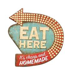 Eat Here Retro Hanging Sign Wall Art Kitchen Living Room Home Decor 16x15 Inch