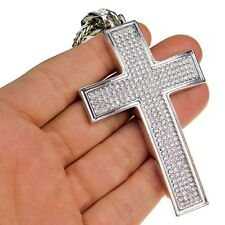 "Bling Micropave Pendant 36"" Franco Chain Micro Pave Cross Necklace Silver Finish"