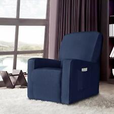 Enova Home Dark Blue Stretch Spandex Jacquard Recliner Chair Slipcovers