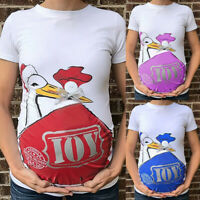 Women Maternity Summer Cartoon Casual T Shirt Pregnancy Short Sleeve Tops Blouse