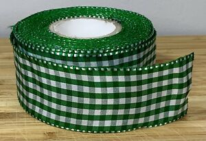 Wide Green Gingham Ribbon Wired Christmas Hamper Bow Present Cake SOLD PER METER