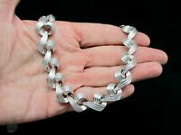 Vintage-1950's Silver Tone Curly Link Necklace