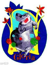 "7.5"" Madagascar gloria hippo fabric applique iron on character"