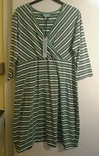 House of fraser dickins and jones summer dress size 18 green white black striped