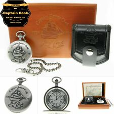 CAPTAIN JAMES COOK Memorial Silver Pocket Watch Men Gift Set Chain Pouch Box C62