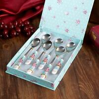 Tea Spoons 6 Piece Set Dessert Spoons Stanless Steel and Fine China in Gift Box